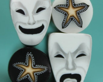 SALE Stars and Comedy Tragedy Theater Masks, Set of 4 Polymer Clay Mini Canes -'Drama Queen' (NN)