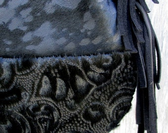 Black Acid Washed - Laser Cut - Hair On Cowhide Stingray Tote Bag by Stacy Leigh