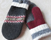 Felted, Repurposed Sweater Wool Mittens in Gray and Burgundy, Adult Size