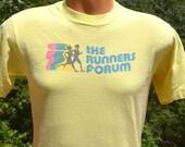 70s vintage t-shirt the RUNNERS FORUM running rainbow indiana run Medium Small