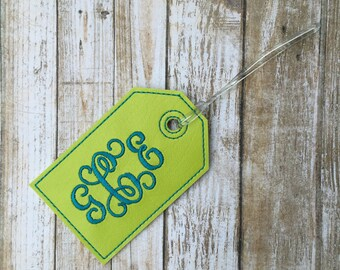 Monogram luggage tag - personalized luggage tag - scroll monogram - faux leather luggage tag - groomsman gift - bridesmaid gift