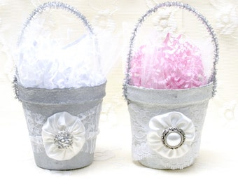 Two Lovely Altered Peat Pots with a little Bling Decor