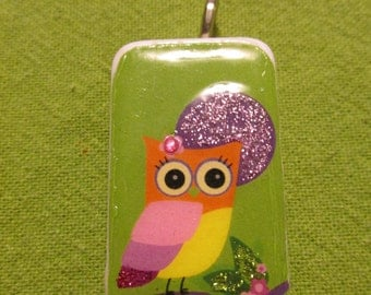 Whimsical Owl green domino pendant for necklace