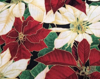 Christmas Poinsettia - fat quarter cotton