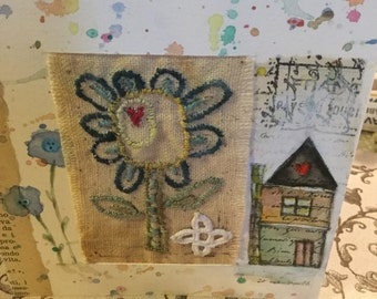 House and flowers  hand painted watercolor mixed media greeting card with stitchery