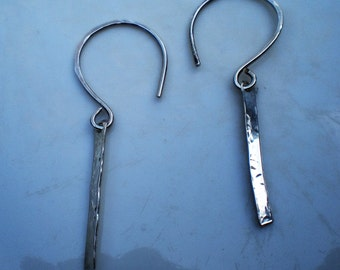 Handmade Sterling Silver Earrings with Hammered Sterling Bars
