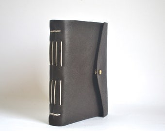 Dark Brown Leather Journal, Hand Bound Leather Linkstitch Journal, Brown Black Notebook with Brass Button Stud
