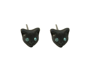 Black Cat Stud Earrings,Halloween,Kitty, Kitten,Witch,90,Grunge,Boho,Bohemian F3