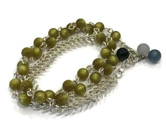 Wrap Direction Bracelet   Olive Moonglow with Silver Arrow Chain   Leetie Lovendale Lucite