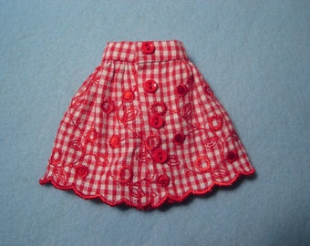 Blythe Red Embroidered Cotton Skirt for Pullip and Vintage Skipper Too