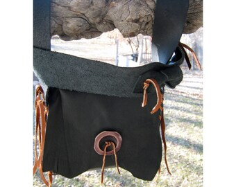 Black Leather Pouch - Recycled Beginning's - Crudeco