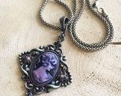 OOAK Dark Cameo Pendant with Vintage Rope Chain