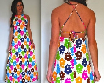 SALE SECTION / 40% OFF Vintage 60s 70s Flower Power Halter Back Maxi Dress (size small, medium)