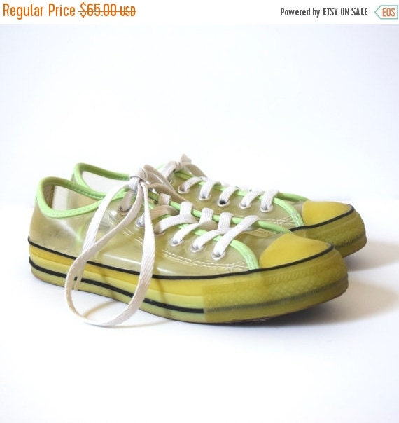 SUMMER SALE / 20% off Vintage 90s RARE Glow in the Dark Transparent Converse All Star Clear Plastic Low Top Sneakers (men's size 7 / women's
