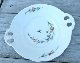 Vintage KPM Berlin 1900 Germany Handpainted  Floral & insect pattern white porcelaine  charger plate /cake plate