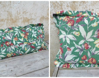Vintage Antique old French 1930 /30s faded colors cotton fabric  pillow Floral