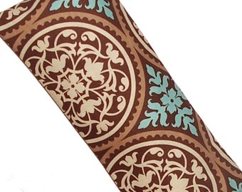Eye Pillow, CORN Heating Pad, Hot Cold Pack Microwave, Joel Dewberry Scrollwork Brown Blue Fabric -  READY to SHIP