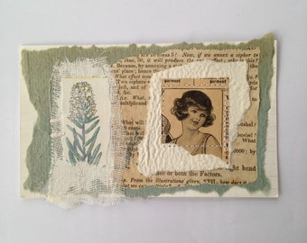 Original Collage - girl in pale blue