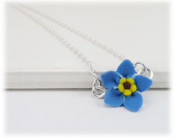 Blue Tiny Forget Me Not Necklace - Forget Me Not Jewelry Collection