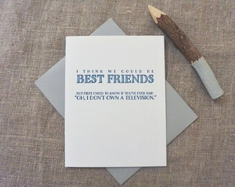 Letterpress Greeting Card - Friendship Card - Dealbreaker - I Don't Own a Television - DBK-059