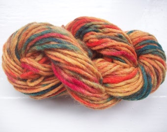 Hand painted pure wool chunky yarn 50g scarlet, crimson, ginger, dark green sunset