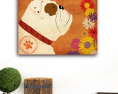 English Bulldog flower company Company original graphic illustration art on gallery wrapped canvas by Stephen Fowler