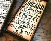 WRIGLEY FIELD chicago baseball typography art on framed canvas 8 x 16 inches