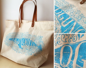 Ogunquit Maine humpback whale artwork typography screen printed illustration cotton tote bag leather handles
