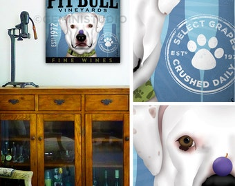 Pit bull pit bull dog Terrier wine winery Company art on gallery wrapped canvas by stephen fowler