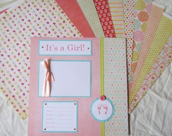 BABY GIRL FiRsT YeAr ALbUm -- 20 12x12 Premade Scrapbook Pages -- alphabet soup - baby memory book scrapbook layouts, 1st year, shower gift