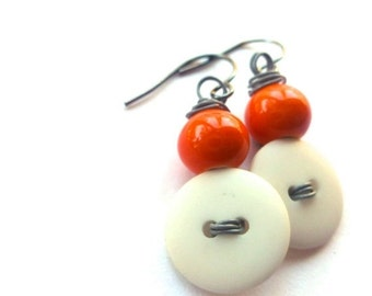 Christmas in July Sale White Button Earrings with Orange Color Beads on Gray Wire