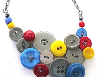 Christmas in July Sale Primary Colors and Gray Vintage Button Statement Jewelry Necklace, Upcycled and Repurposed