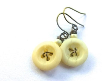 Christmas in July Sale Off-White Vintage Button Dangle Earrings -Shabby Chic