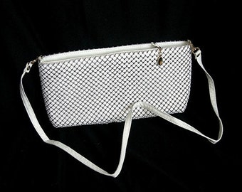 """White Shoulder Bag, Metal Mesh, Vintage c1970-80s, 11"""" Wide, Convertible - Strap or Not, Fashion Accessory, Wedding Purse"""