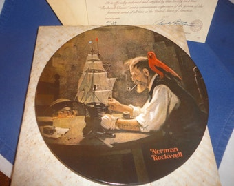 Norman Rockwell Collector Plate Edwin M Knowles 1980 Ship Builder