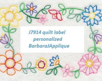 Vintage Blooming Block-Party quilt label machine embroidered