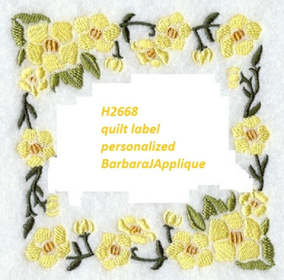 Quilt Label H2668 machine embroidered personalized