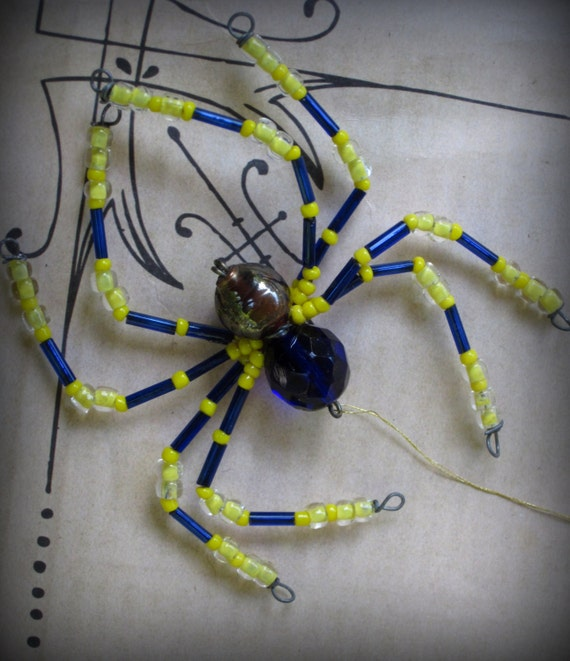 Bright Blue And Yellow Spider Ornament Sun Catcher