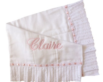 Embroidered Personalized Pleated Wide Eyelet Edge and Satin Beading Diaper Burpie