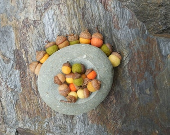 100 felted acorns /Autumn Colors / mixed sizes