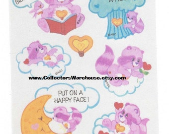 Care Bears Cousins Taffeta Bright Heart Raccoon Sticker Sheet Vintage 80s AGC Satin Cloth stickers