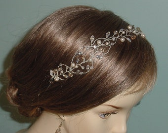 Wedding Headband Crystal Silver Hair Jewelry Tiara Made to Order