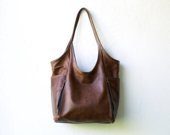 Seven Pocket Tote  -  soft veg tanned leather tote - soft leather shoulder bag - large leather tote