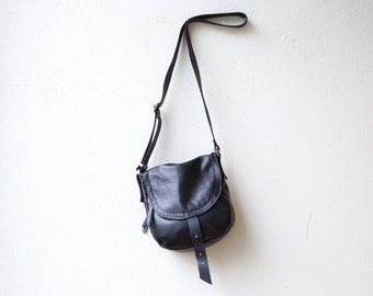 1903 CROSSBODY bag - small black leather and waxed canvas bag - lightweight travel bag