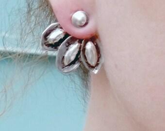 Ear Jacket Earrings, Silver Ear Jacket, Sterling Silver, Organic, Unique Earrings, Handmade Stud earrings, Hammered Studs, Trendy Jewelry
