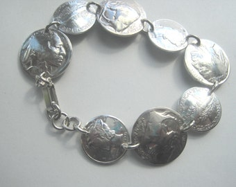 Coin bracelet-antique nickel and dime bracelet-free shipping