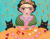 Frida and Cats - Original Valentine Cat Folk Art Painting