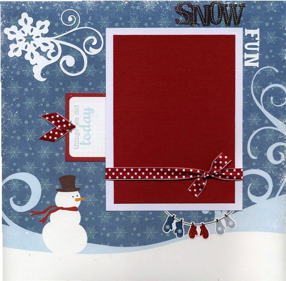 12x12 Premade Winter Scrapbook Page Snow By