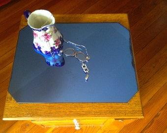 1930s Cobalt blue Art Deco Dresser top mirror