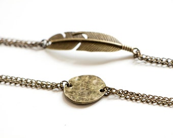 Hammered Disc Antique Bronze Bracelet